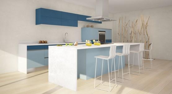 meuble de cuisine bleu gris couleur cuisine equipee - Meubles Cuisine Bleu Gris