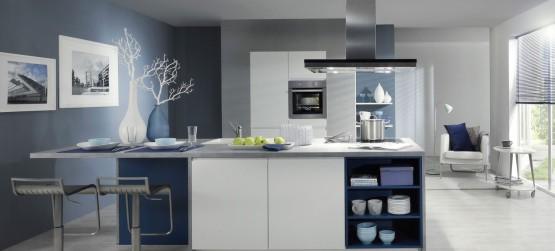 Cuisine blanche 10 mod les de cuisines lumineuses et for Peinture murale pour cuisine blanche