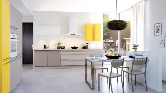 Cuisinella Blanc Jaune Marron